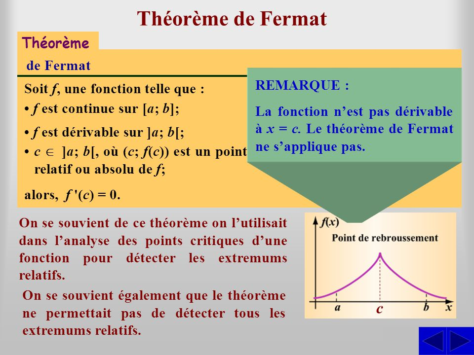 Théorème de Fermat c S S Théorème de Fermat REMARQUE :
