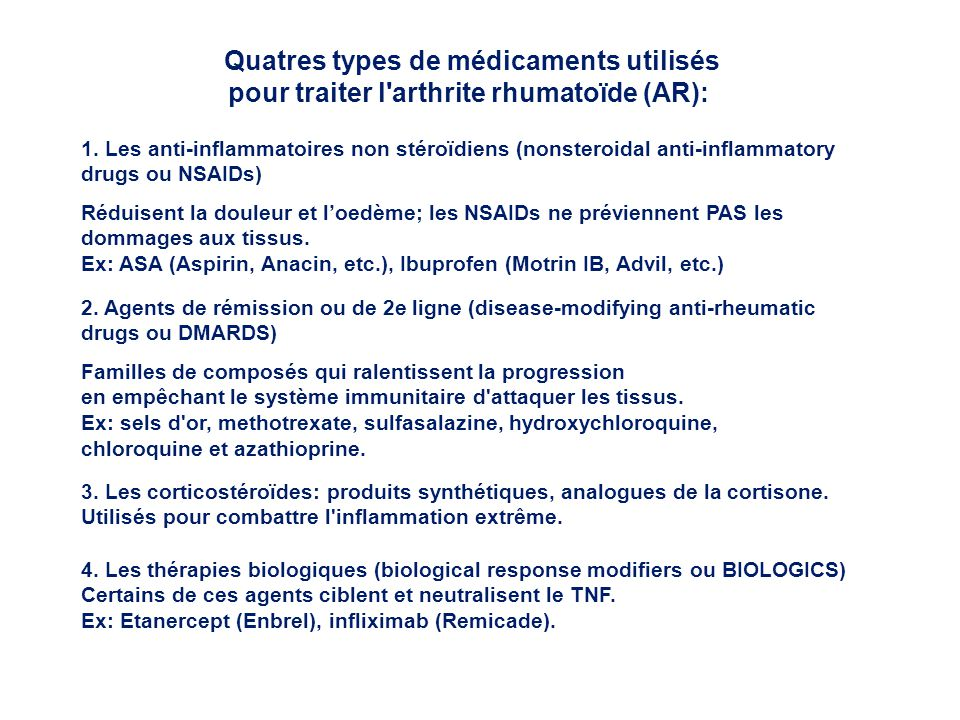 Quatres types de médicaments utilisés
