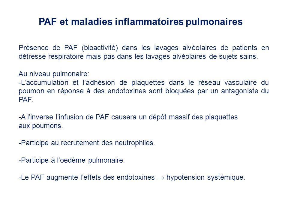 PAF et maladies inflammatoires pulmonaires