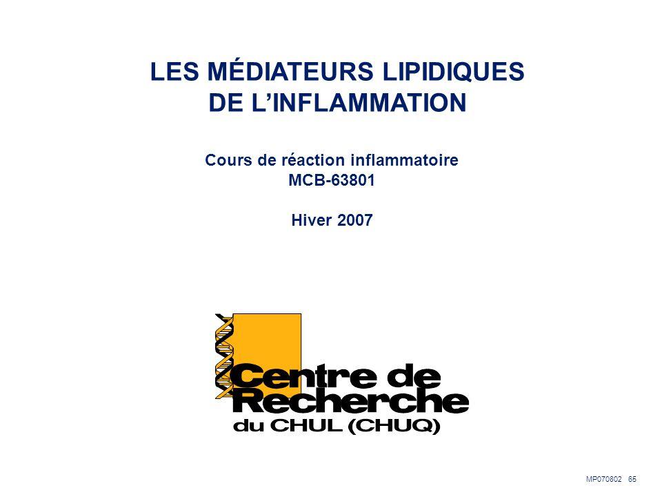 LES MÉDIATEURS LIPIDIQUES Cours de réaction inflammatoire