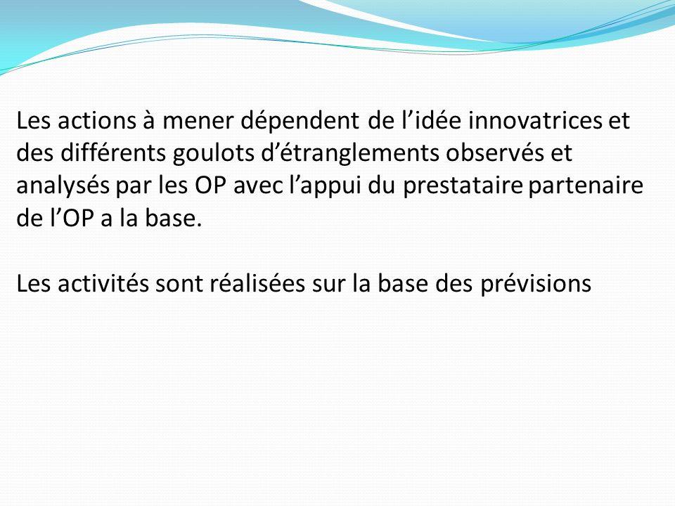 Les actions à mener dépendent de l'idée innovatrices et des différents goulots d'étranglements observés et analysés par les OP avec l'appui du prestataire partenaire de l'OP a la base.