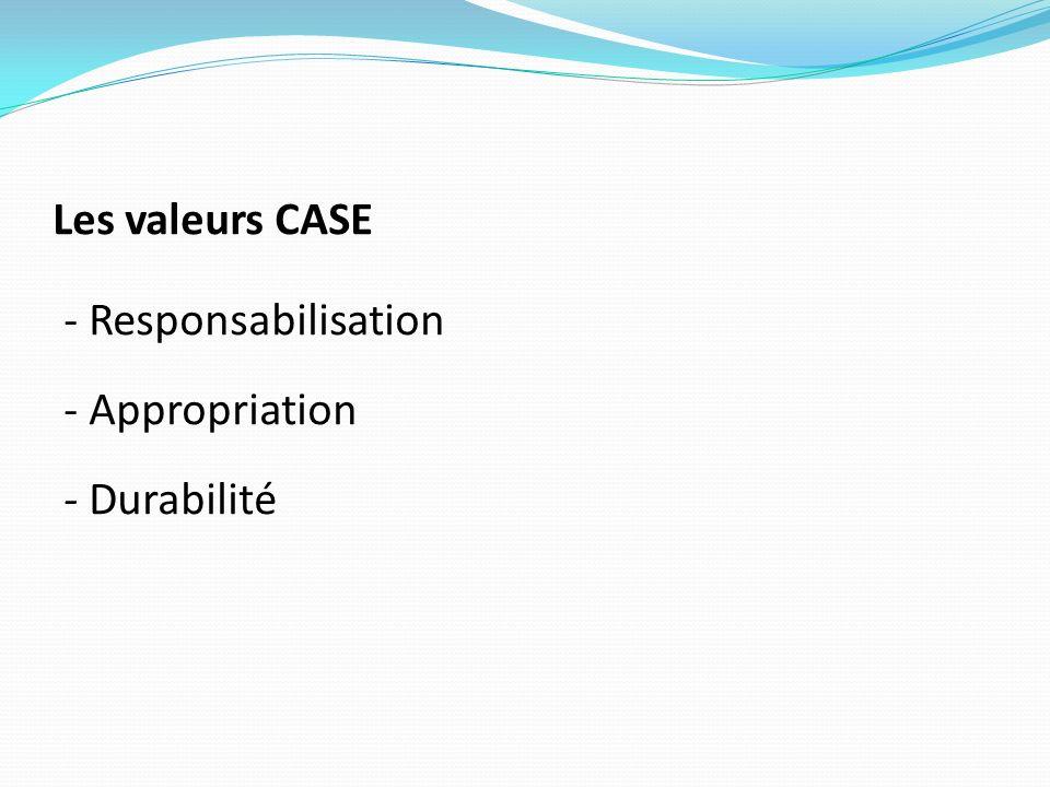 Les valeurs CASE - Responsabilisation - Appropriation - Durabilité