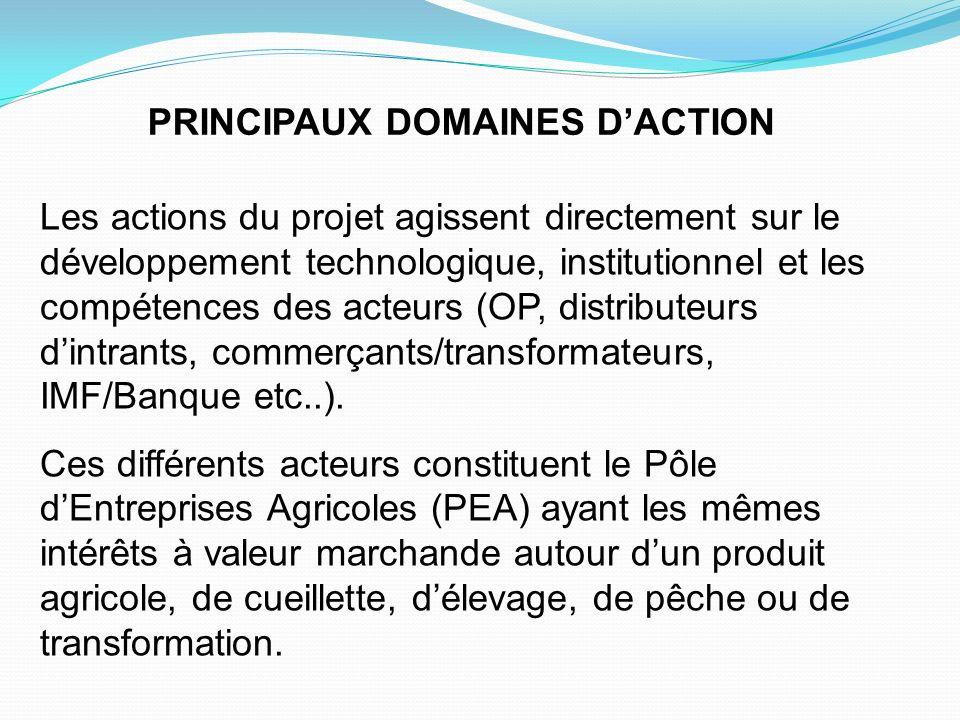 PRINCIPAUX DOMAINES D'ACTION