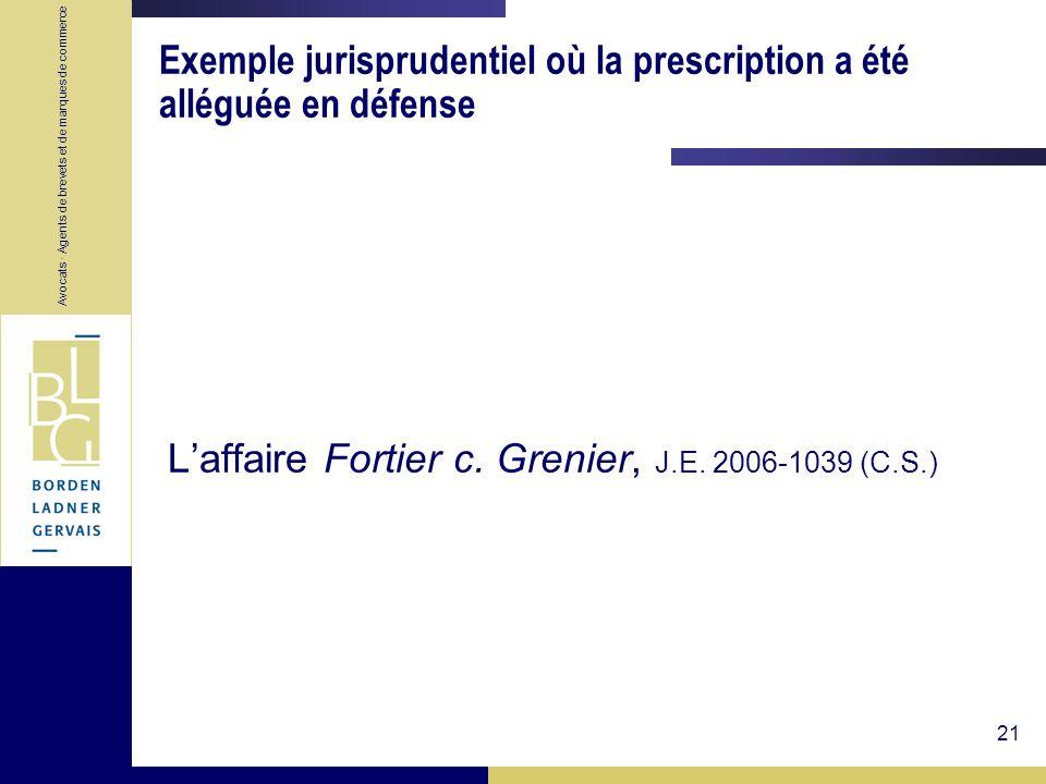 Exemple jurisprudentiel où la prescription a été alléguée en défense