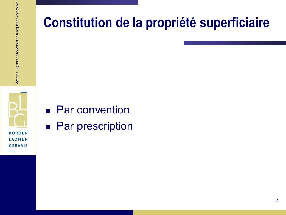 Constitution de la propriété superficiaire