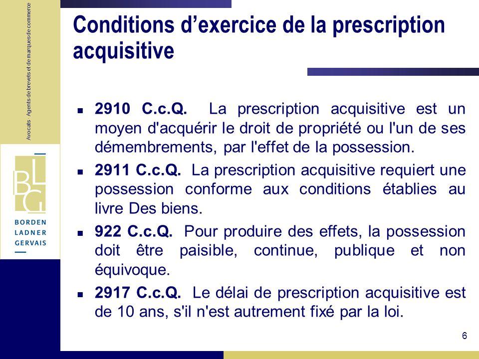 Conditions d'exercice de la prescription acquisitive