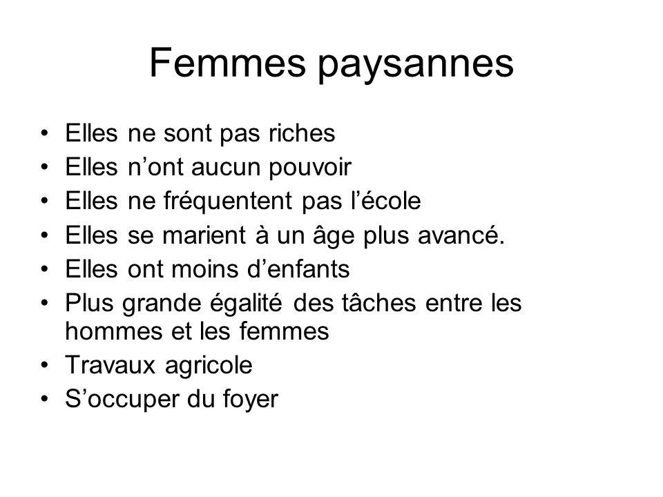 Femmes paysannes Elles ne sont pas riches Elles n'ont aucun pouvoir