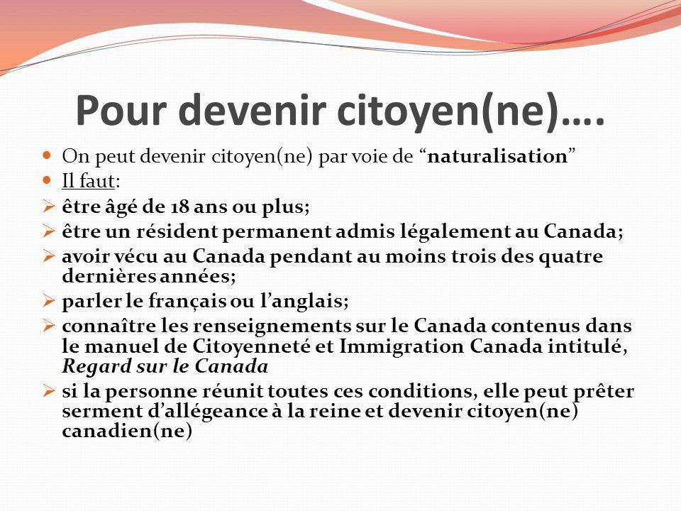 Pour devenir citoyen(ne)….