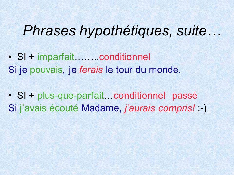 Phrases hypothétiques, suite…