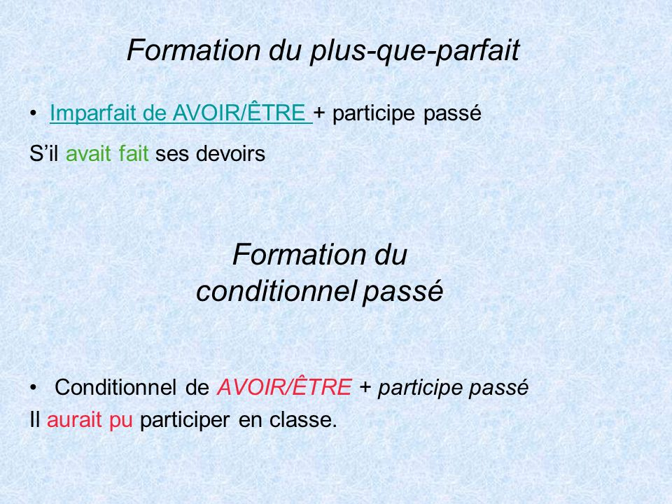 Formation du conditionnel passé