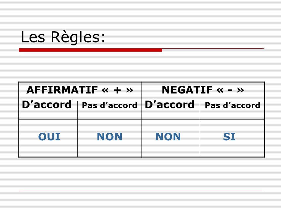 Les Règles: AFFIRMATIF « + » D'accord Pas d'accord NEGATIF « - » OUI