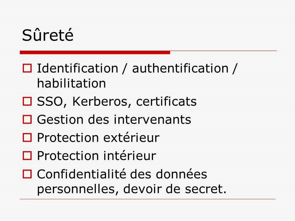 Sûreté Identification / authentification / habilitation