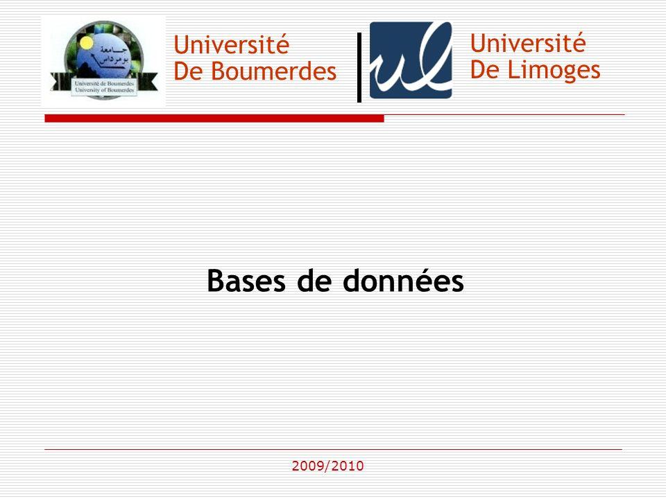 Bases de données Université Université De Boumerdes De Limoges
