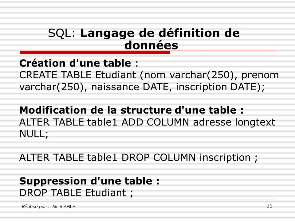SQL: Langage de définition de données