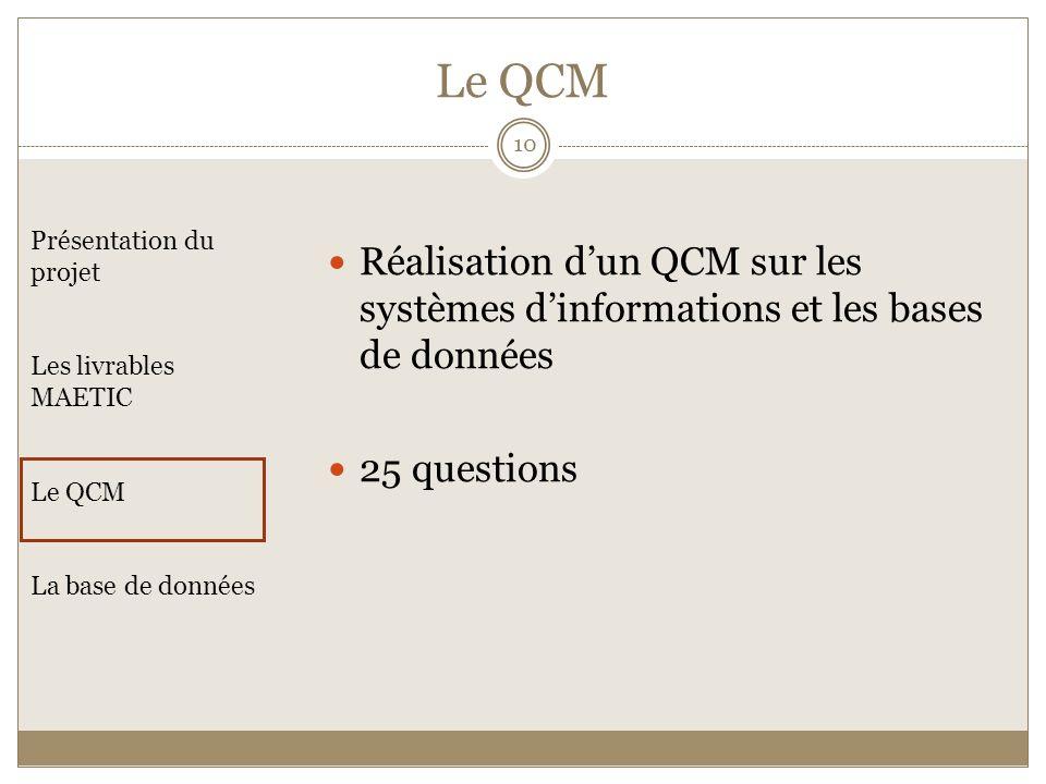 Le QCM Réalisation d'un QCM sur les systèmes d'informations et les bases de données. 25 questions.