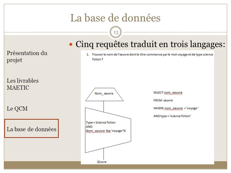 La base de données Cinq requêtes traduit en trois langages:
