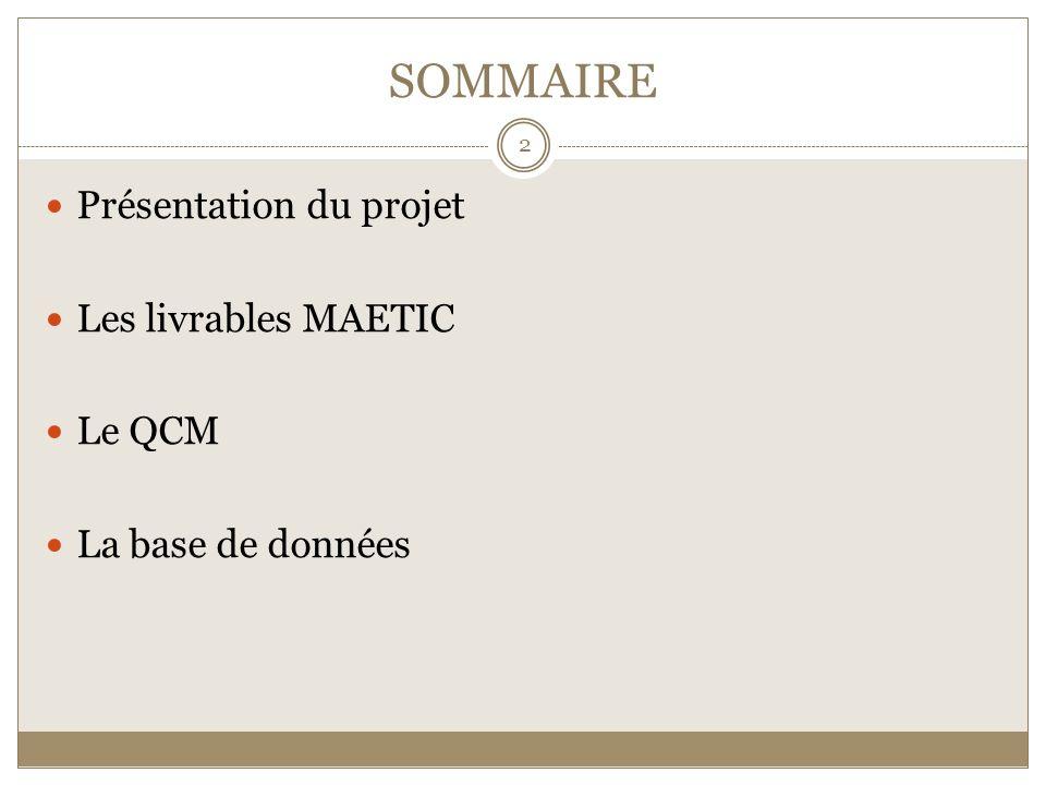SOMMAIRE Présentation du projet Les livrables MAETIC Le QCM