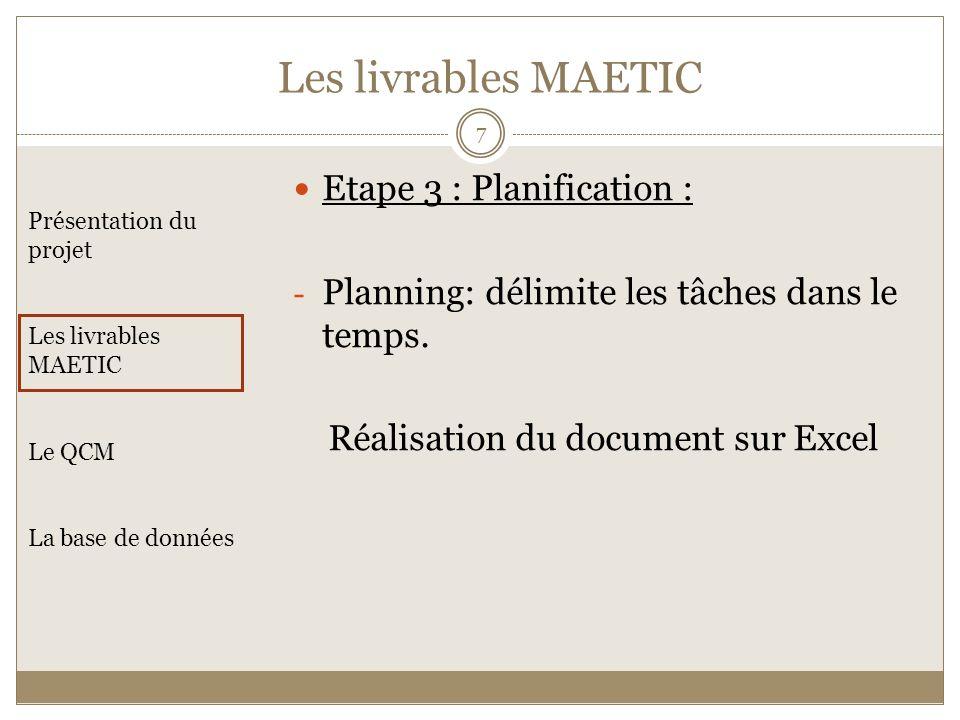 Les livrables MAETIC Etape 3 : Planification :
