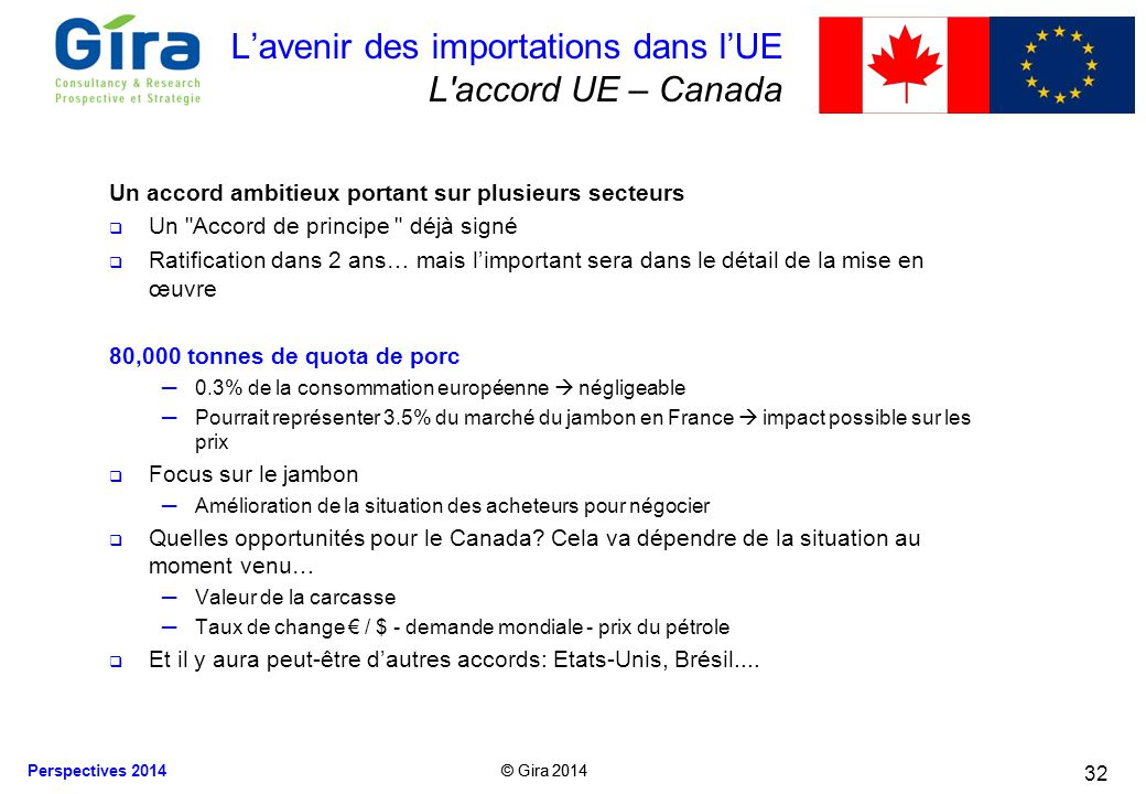 L'avenir des importations dans l'UE L accord UE – Canada