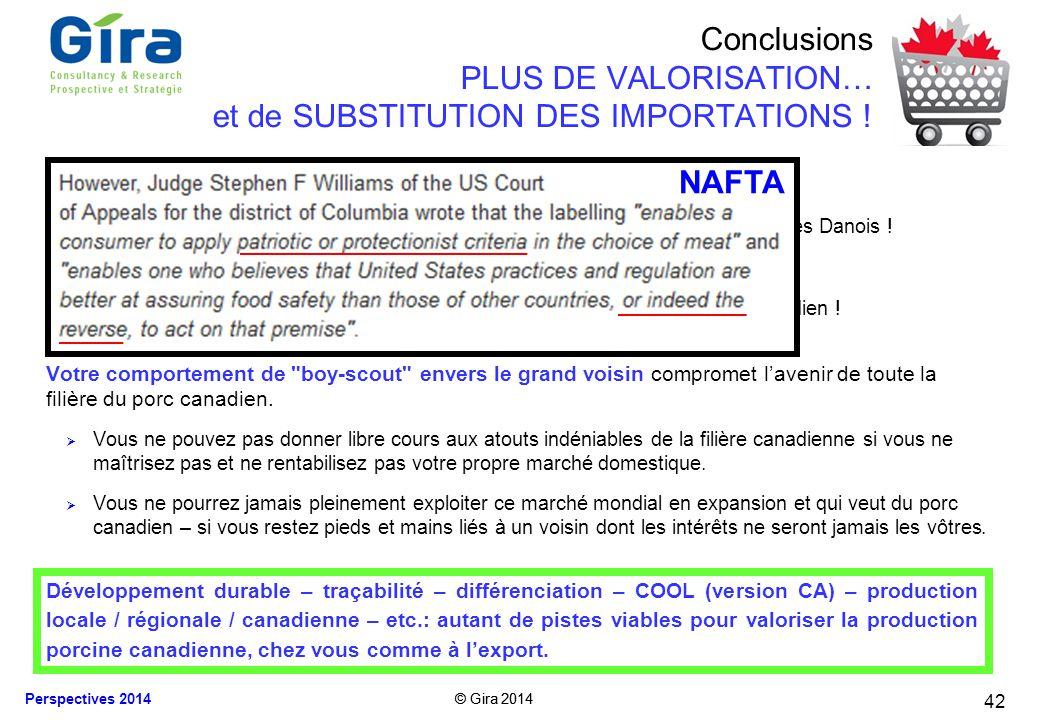 Conclusions PLUS DE VALORISATION… et de SUBSTITUTION DES IMPORTATIONS !