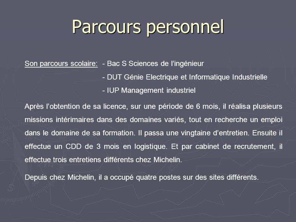 Parcours personnel Son parcours scolaire: - Bac S Sciences de l'ingénieur. - DUT Génie Electrique et Informatique Industrielle.