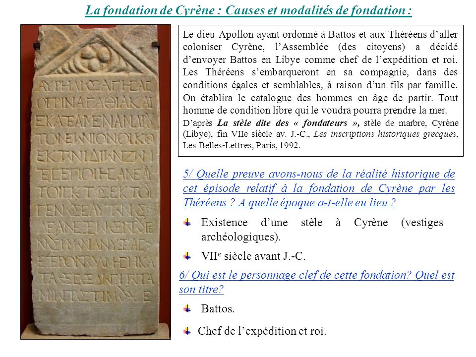 La fondation de Cyrène : Causes et modalités de fondation :