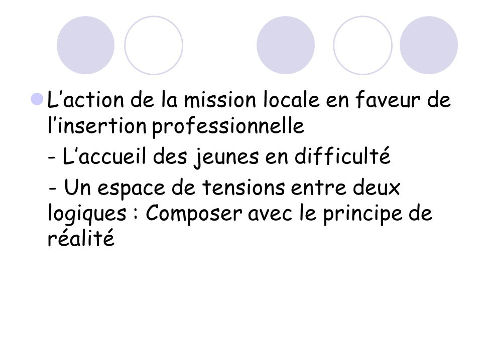 L'action de la mission locale en faveur de l'insertion professionnelle