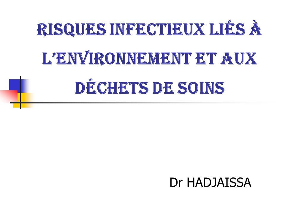 Risques infectieux liés à l'environnement et aux déchets de soins