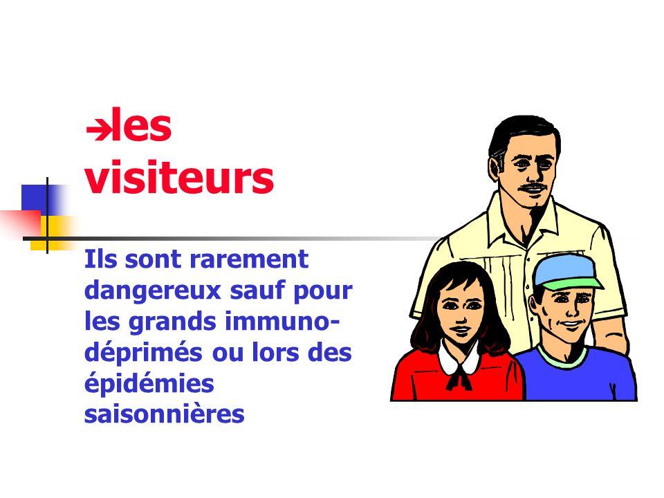les visiteurs Ils sont rarement dangereux sauf pour les grands immuno-déprimés ou lors des épidémies saisonnières