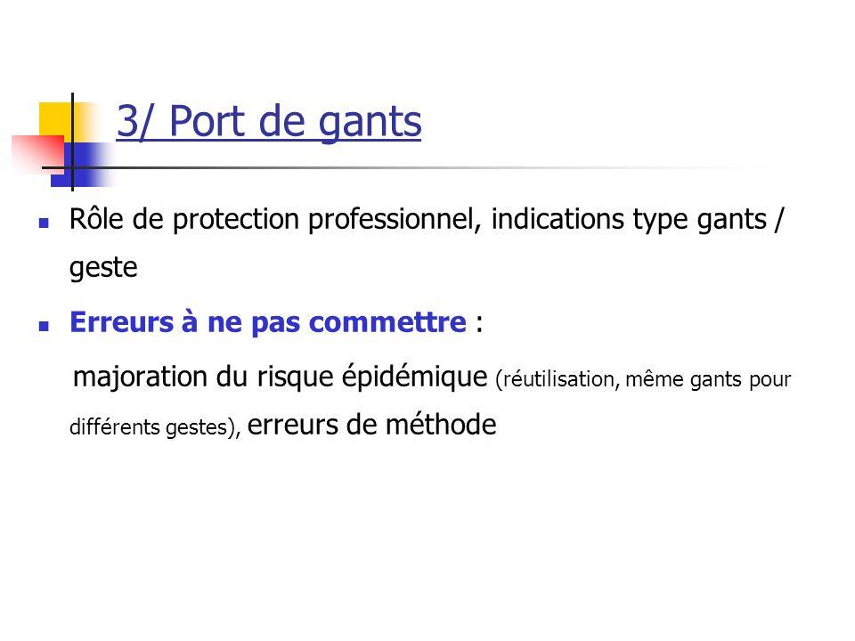 3/ Port de gants Rôle de protection professionnel, indications type gants / geste. Erreurs à ne pas commettre :
