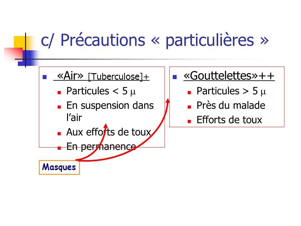 c/ Précautions « particulières »