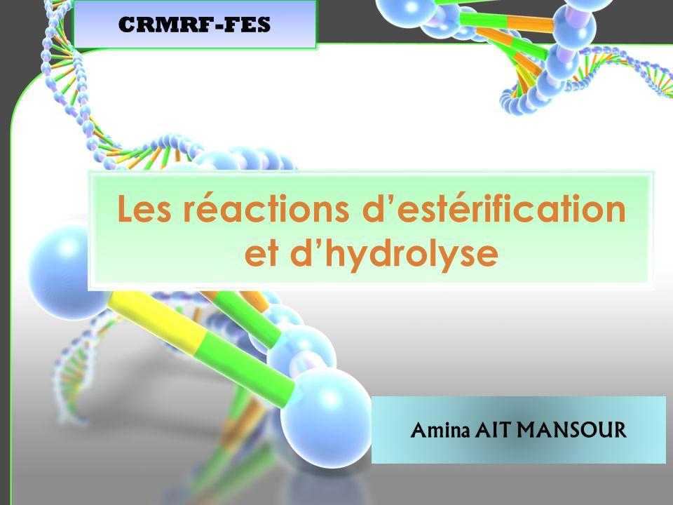 Les réactions d'estérification et d'hydrolyse