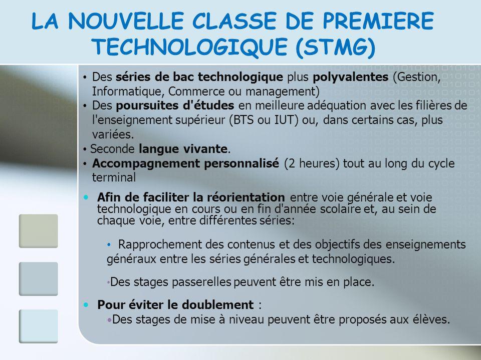 LA NOUVELLE CLASSE DE PREMIERE TECHNOLOGIQUE (STMG)