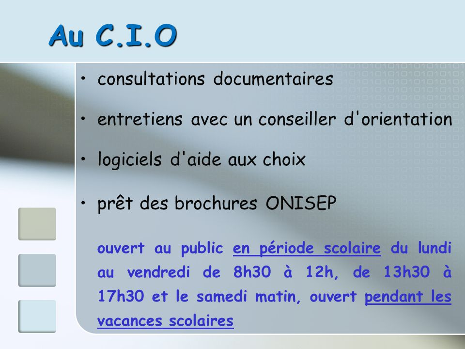 Au C.I.O consultations documentaires