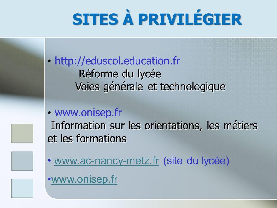 SITES À PRIVILÉGIER http://eduscol.education.fr Réforme du lycée