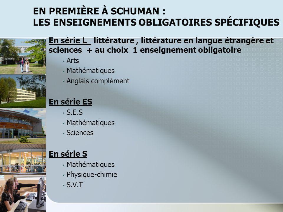 En première à SchuMAN : les enseignements obligatoires spécifiques