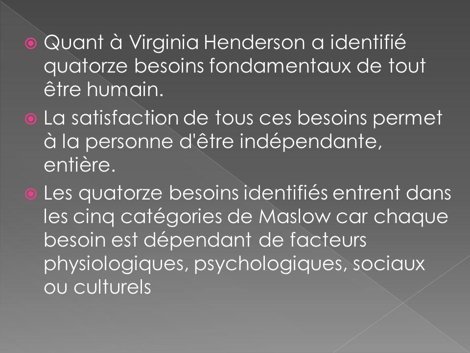 Quant à Virginia Henderson a identifié quatorze besoins fondamentaux de tout être humain.
