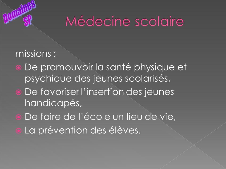 Médecine scolaire Domaines SP missions :