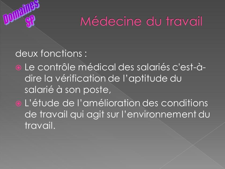 Médecine du travail Domaines SP deux fonctions :