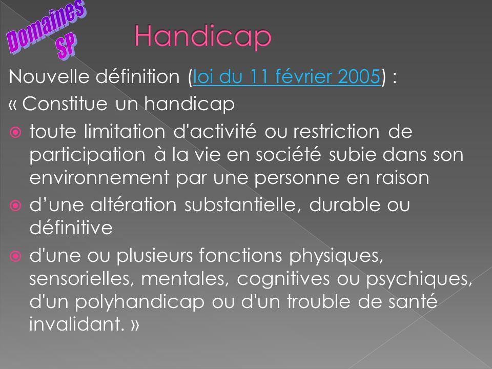 Handicap Domaines SP Nouvelle définition (loi du 11 février 2005) :