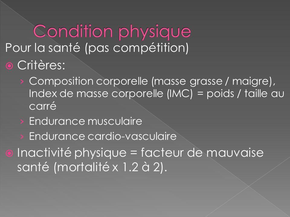 Condition physique Pour la santé (pas compétition) Critères: