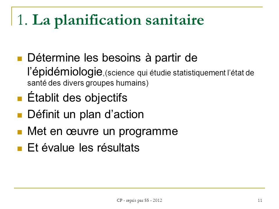 1. La planification sanitaire