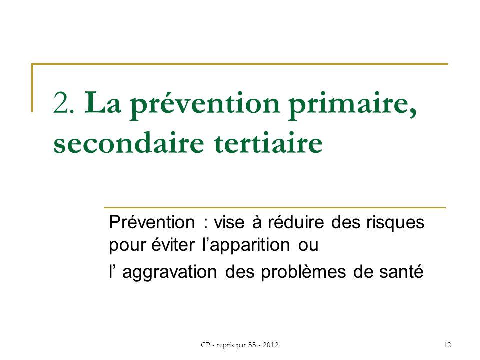 2. La prévention primaire, secondaire tertiaire