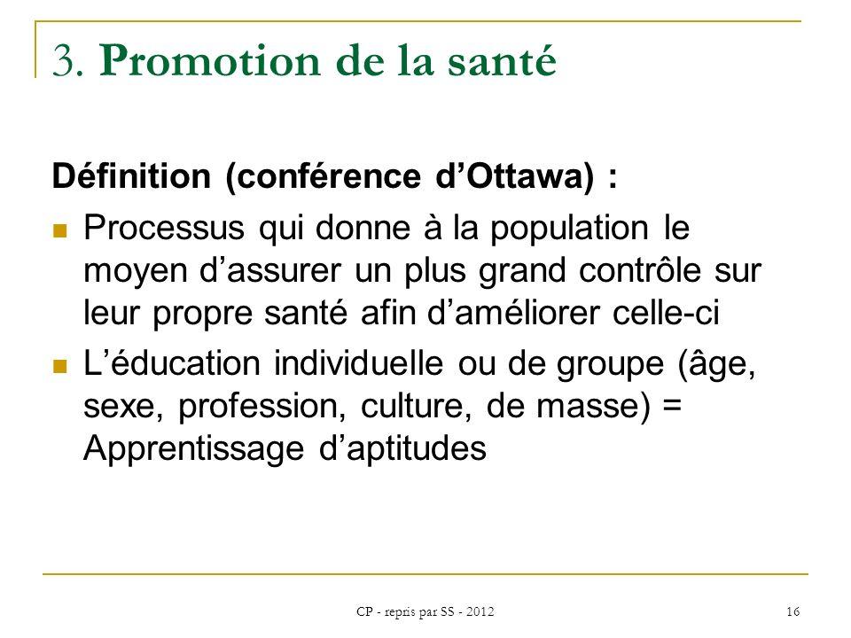 3. Promotion de la santé Définition (conférence d'Ottawa) :