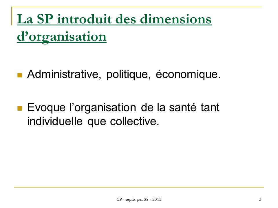 La SP introduit des dimensions d'organisation