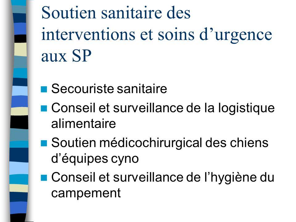 Soutien sanitaire des interventions et soins d'urgence aux SP