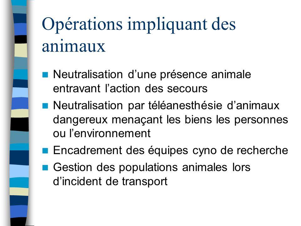 Opérations impliquant des animaux