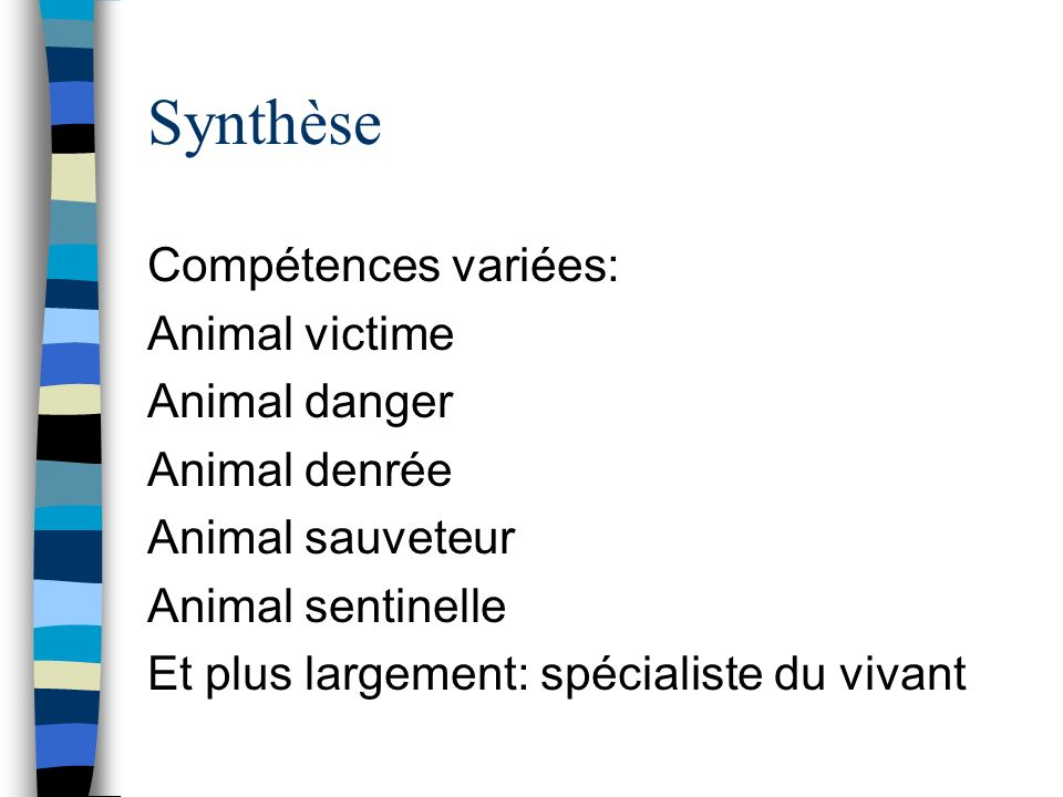 Synthèse Compétences variées: Animal victime Animal danger
