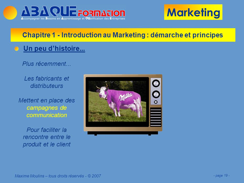 Chapitre 1 - Introduction au Marketing : démarche et principes