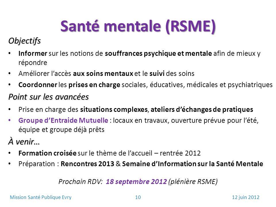 Prochain RDV: 18 septembre 2012 (plénière RSME)